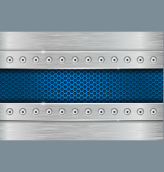 Metal rivetted background with blue perforated vector