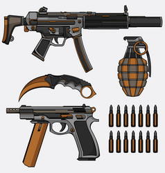 Military weapon collection vector