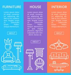 modern house furniture linear poster set vector image