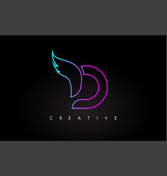 neon d letter logo icon design with creative wing vector image