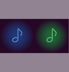 Neon icon of blue and green musical note vector