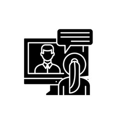 online negotiations black icon sign on vector image