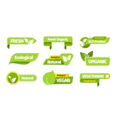 organic vegetarian banners organic natural eco vector image