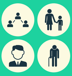Person icons set collection of work man family vector