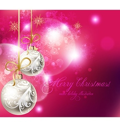 Pink Christmas Background with Baubles vector