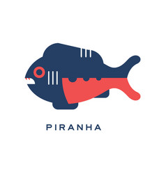 piranha sea carnivorous fish geometric flat style vector image