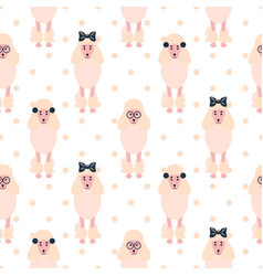 Poodle cute pink dog girlish seamless vector