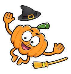 Pumpkin character jumps halloween day isolated vector