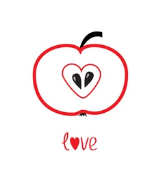 Red apple with heart shape Love card vector image