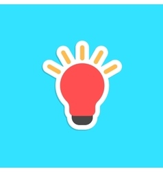 red bulb icon sticker isolated on blue background vector image