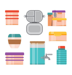Reusable food containers and water bottles set vector
