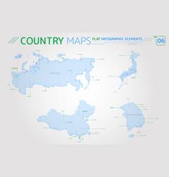 russia china japan and south korea maps vector image