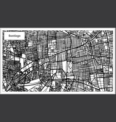 santiago chile city map in black and white color vector image