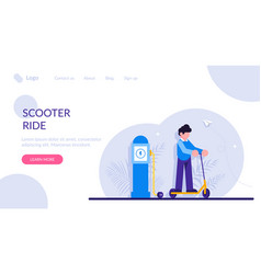 Scooter ride concept electric scooter on the vector