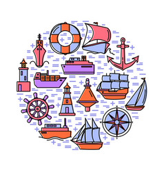 Sea spirit round concept with ship icons in line vector
