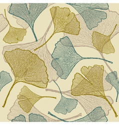 Seamless ginkgo background vector