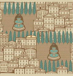 seamless pattern with old houses and fountains vector image