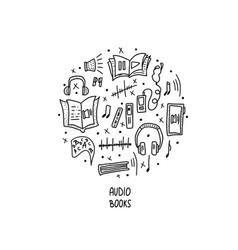 set of audio books symbols vector image