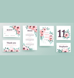 Set of invitations for a wedding with pink flowers vector