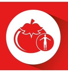 Silhouette man food tomato vegetable design vector