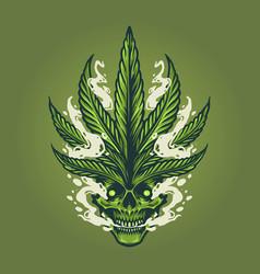 skull smoke weed leaf marijuana vector image