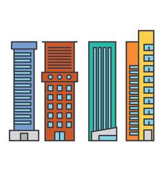 skyscraper line icon concept skyscraper flat vector image