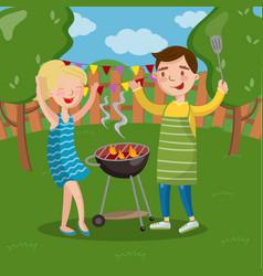 Smiling happy couple having outdoor barbecue vector
