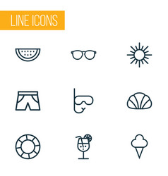 Summer icons line style set with watermelon vector