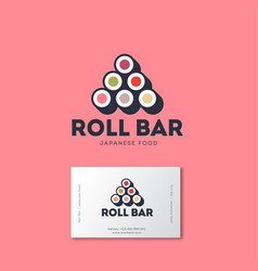 Sushi roll bar flat logo japanese food emblem vector
