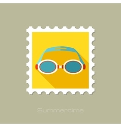 Swimming Goggles flat stamp with long shadow vector