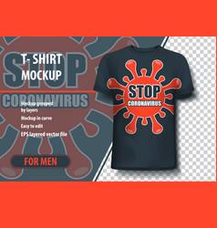 T-shirt mock-up template with coronavirus theme vector