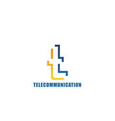 telecommunication company letter t icon vector image
