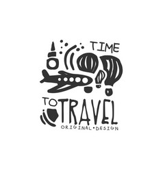 Time to travel logo with plane and air balloon vector