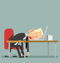 Tired businessman sleeping with laptop and coffee vector