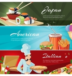 Traditional cuisine of America Japan and vector image