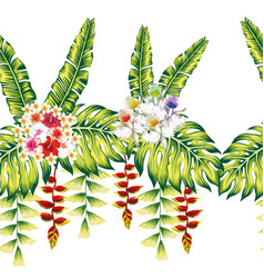 tropical flowers and leaves seamless white vector image