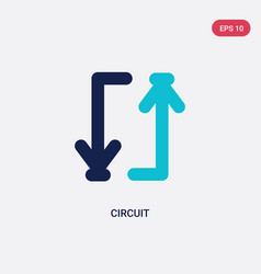 Two color circuit icon from arrows 2 concept vector