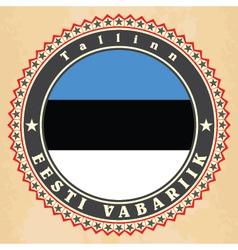 Vintage label cards of Estonia flag vector