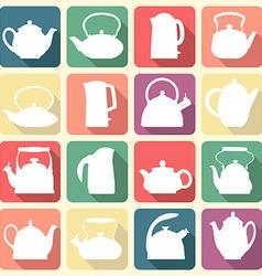 Vintage logo teapot set isolated vector