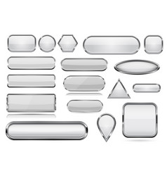 White glass 3d buttons with chrome frame vector
