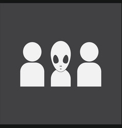 White icon on black background aliens silhouettes vector
