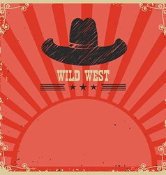 Wild west cowboy background red card vector