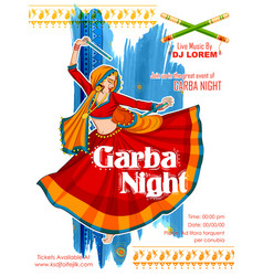 Woman playing Dandiya in disco Garba Night poster vector image vector image