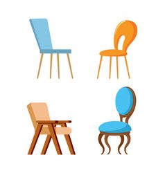 wooden design chair with soft and hard seat vector image
