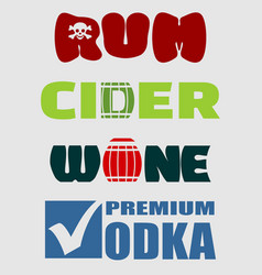 alcohol logo design set typography concept vector image