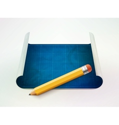 blueprint and pencil vector image