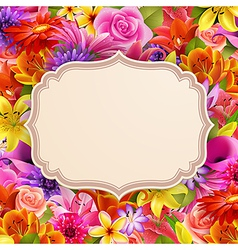 card on flowers vector image vector image