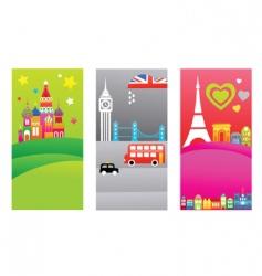 European travel destination banners vector image