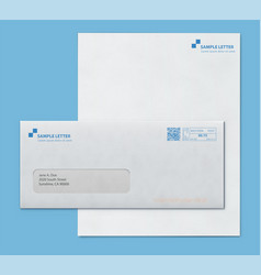 Mockup post envelope and letter paper template vector
