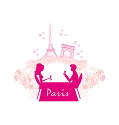 Young couple flirt and drink champagne in Paris vector image vector image